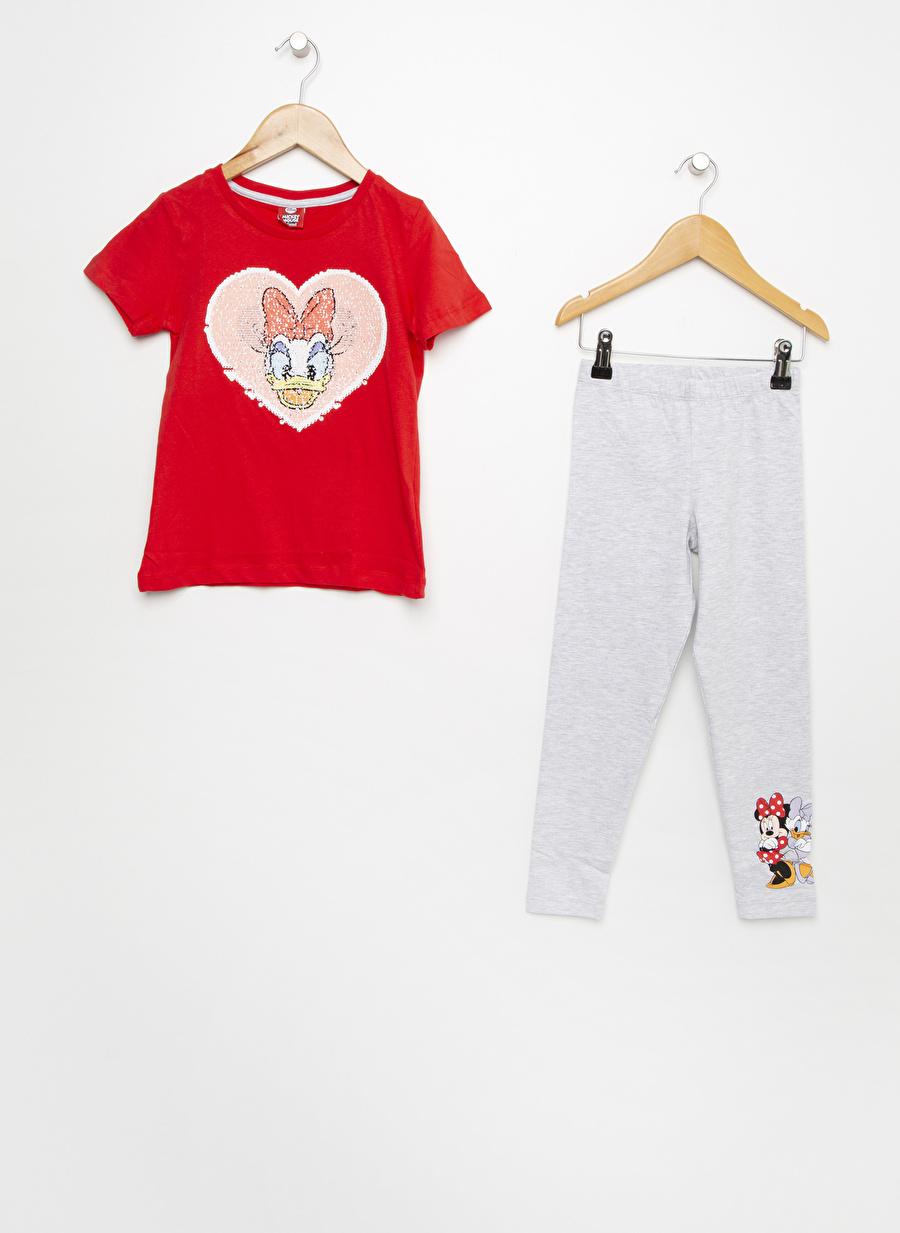 8 Yaş Kadın Kırmızı Roly Poly 2\'Li Açık Gri Pijama Takımı Çocuk Ev İç Giyim