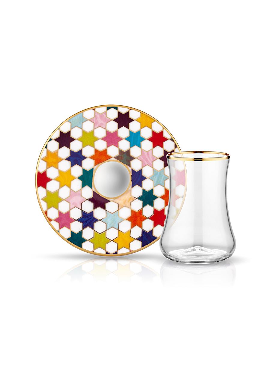 Standart unisex Renksiz Koleksiyon Dervish 6\'lı Star Beyaz Çay Seti Ev Mutfak Sofra Ürünleri Tamamlayıcı