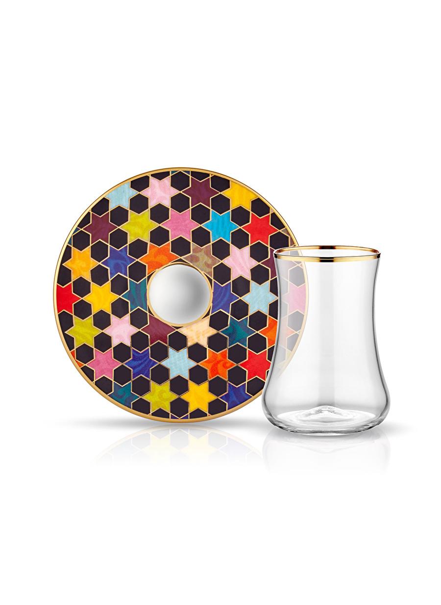 Standart unisex Renksiz Koleksiyon Dervish 6\'lı Star Siyah Altın Çay Seti Ev Mutfak Sofra Ürünleri Tamamlayıcı