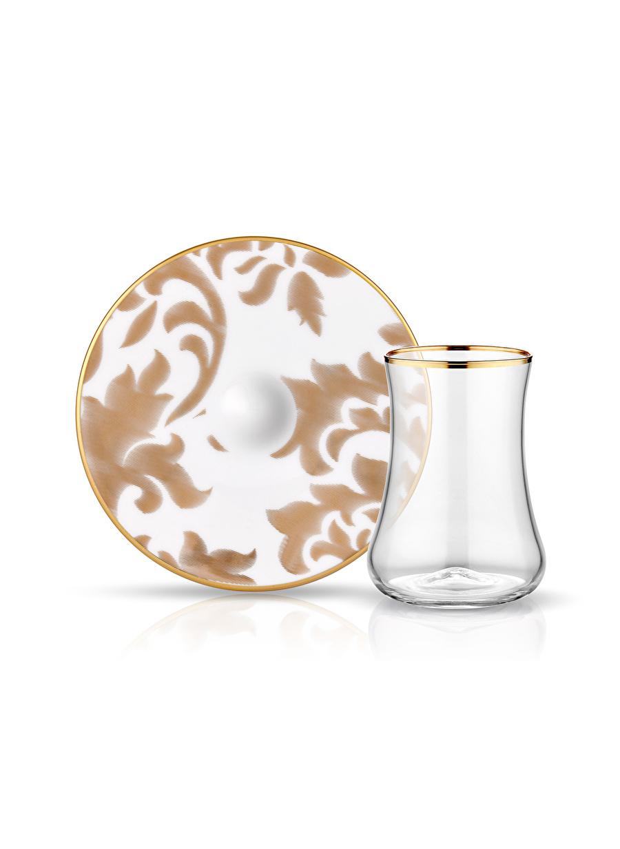 Standart unisex Renksiz Koleksiyon Dervish 6\'lı Gold Leaf Porselen Altın Çay Seti Ev Mutfak Sofra Ürünleri Tamamlayıcı
