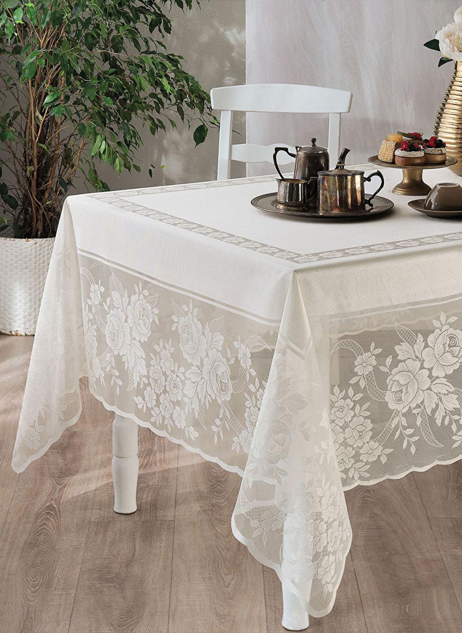 180 X 230 cm unisex Ekru Casabel Gül Masa Örtüsü Ev Mutfak Sofra Ürünleri Tekstili