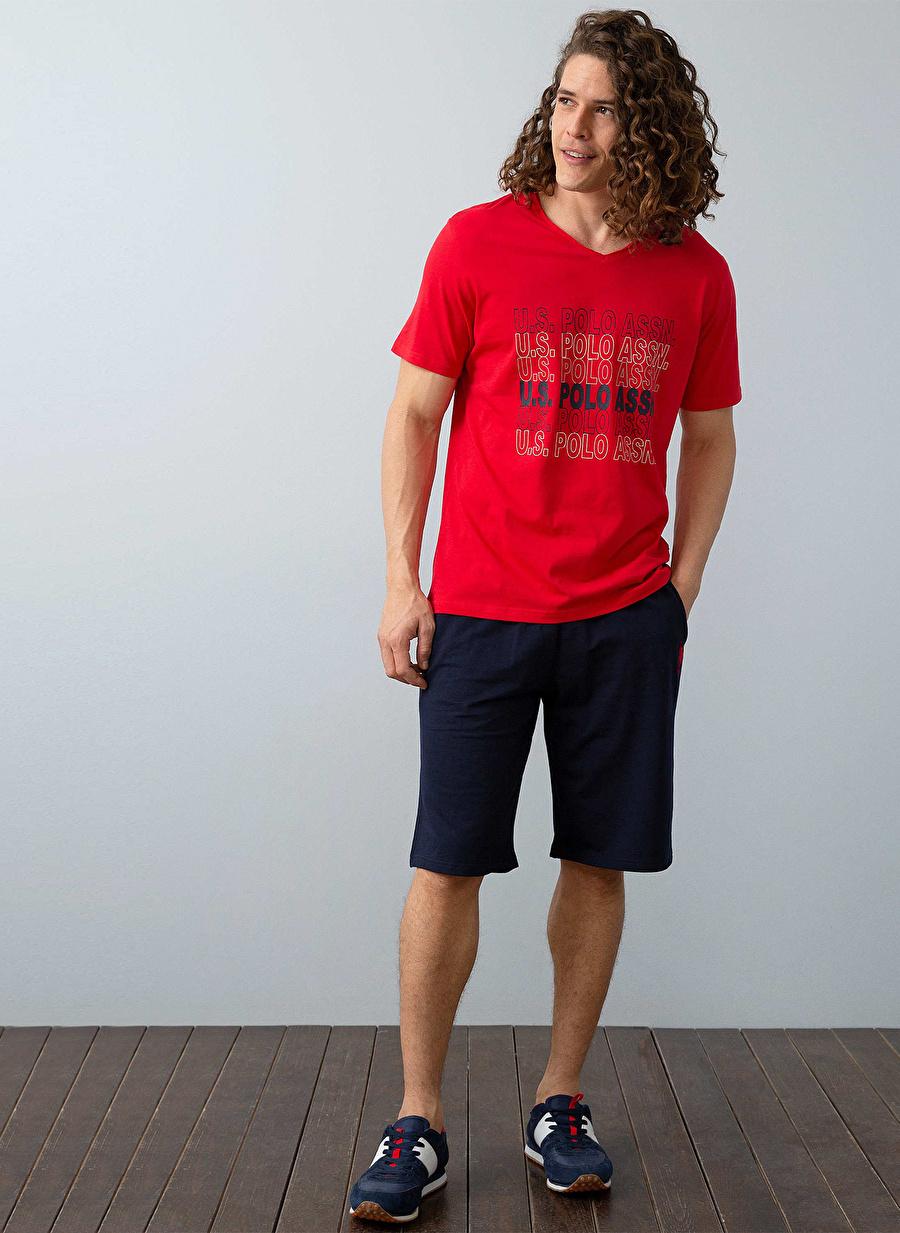 S Erkek Kırmızı U.S. Polo Assn. Lacivert Pijama Takımı Bottom Underwear Mens