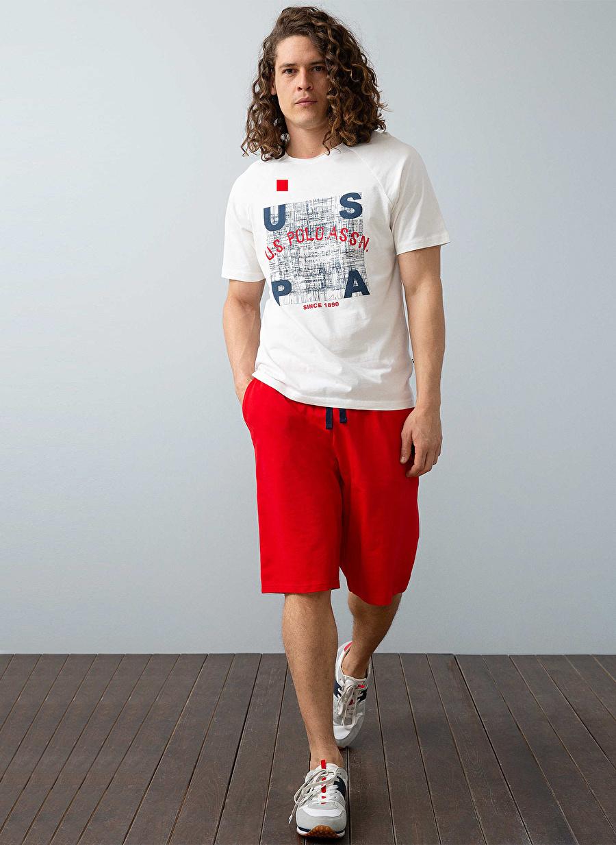 XL Erkek Ekru U.S. Polo Assn. Baskılı Kırmızı Pijama Takımı Bottom Underwear Mens