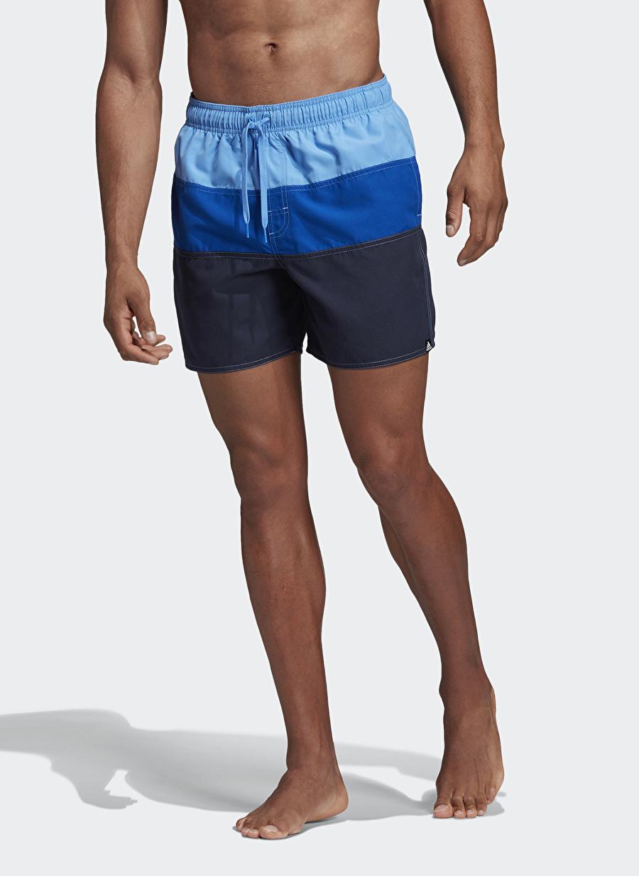 S Mavi adidas DY6410 Colorblock Şort Mayo Erkek Plaj Giyim
