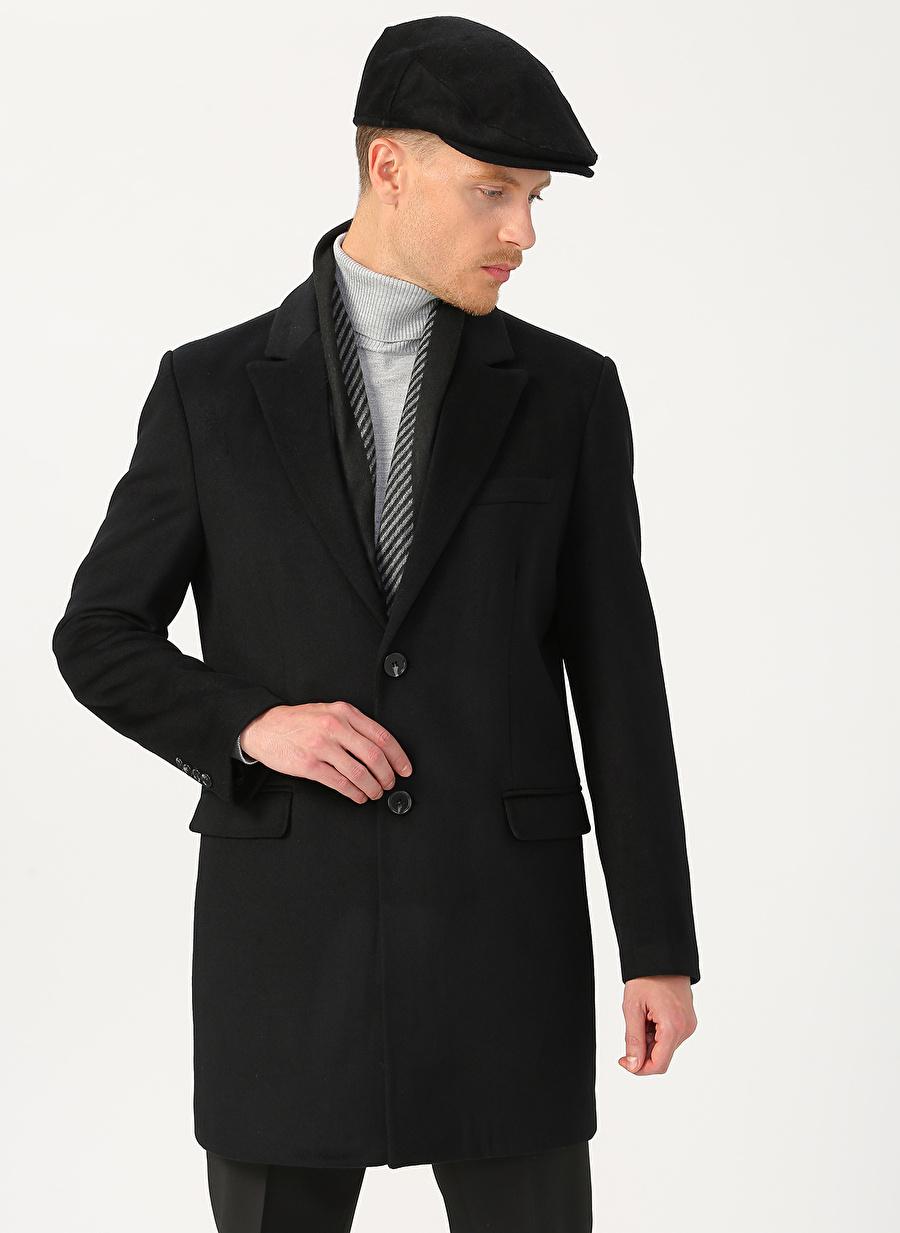 54 Siyah Fabrika Palto Erkek Dış Giyim Trençkot Pardösü