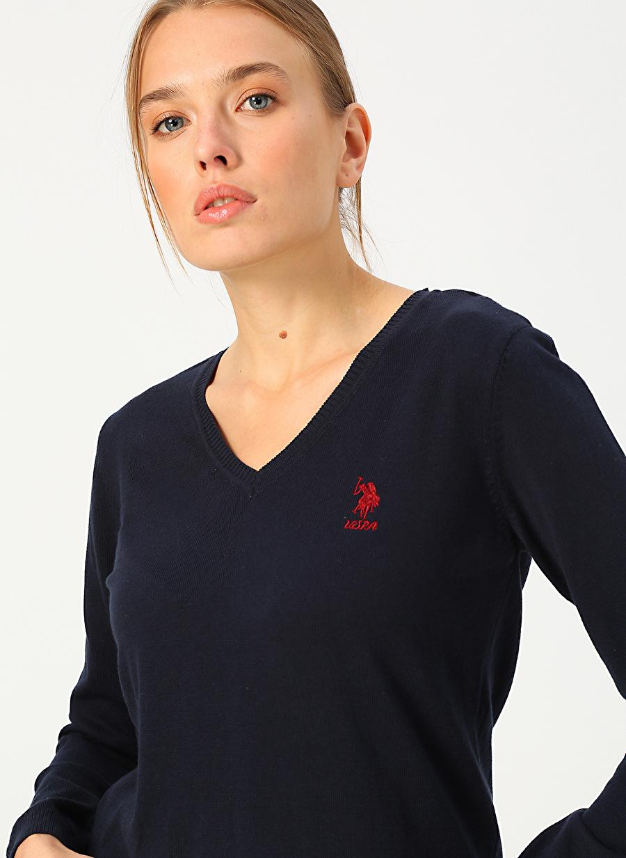 XS Kadın Lacivert U.S. Polo Assn. Kazak Knitwear Ladies