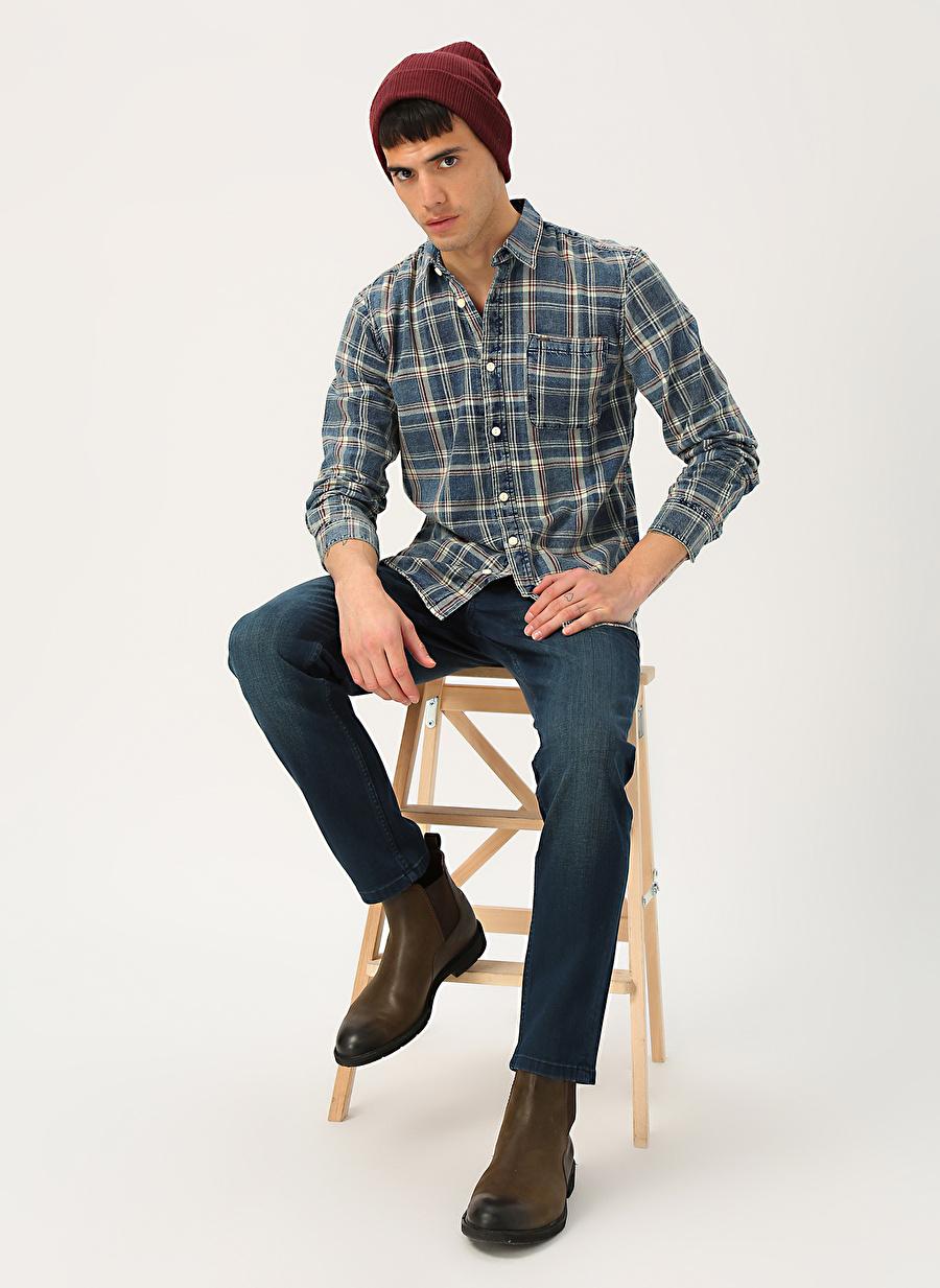 29-32 Renksiz Mustang Oregon Tapered Coated Blue Denim Pantolon Erkek Giyim Jean Skinny