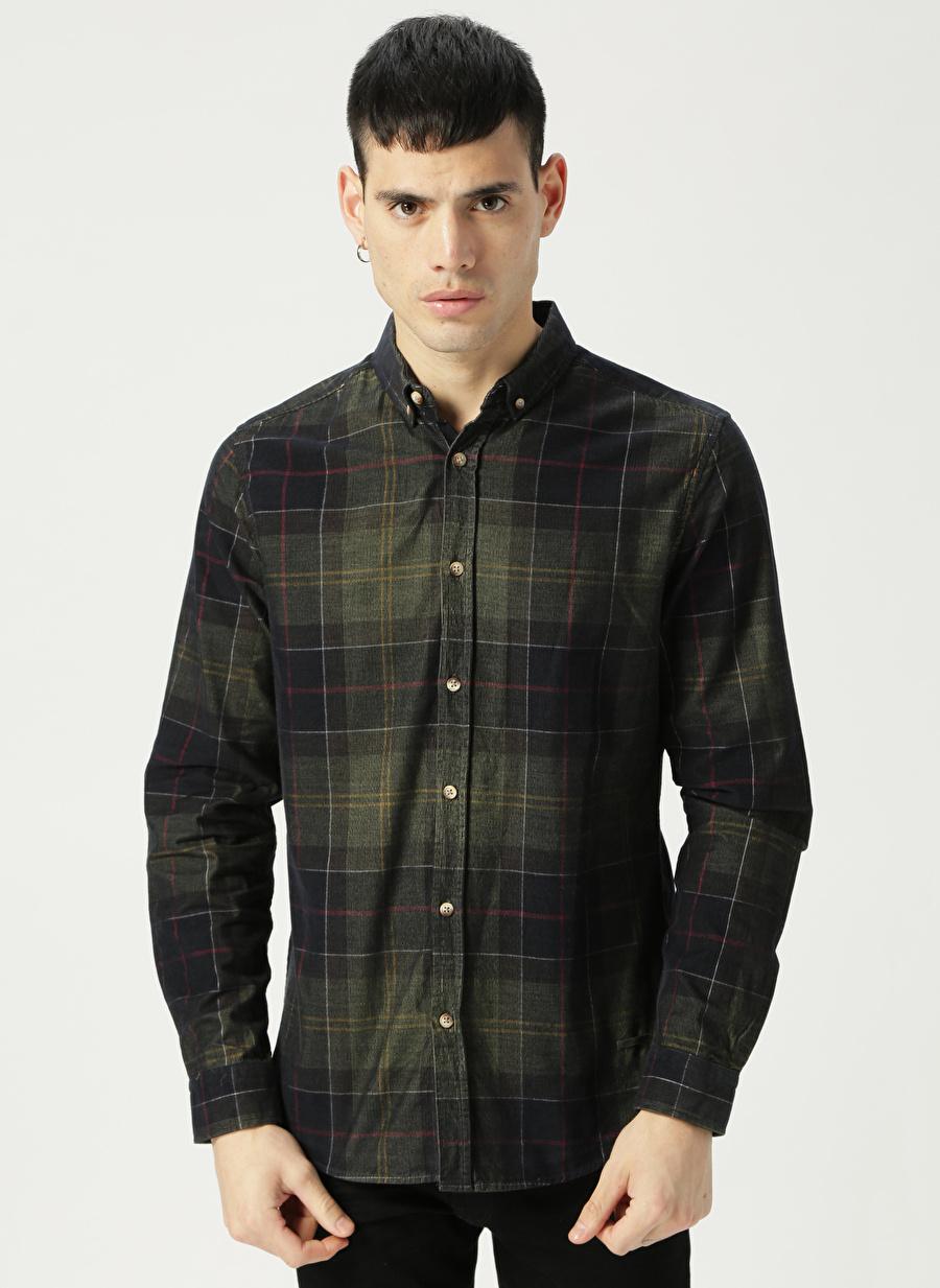 2XL Haki Loft Koyu Kareli Gömlek Erkek Giyim