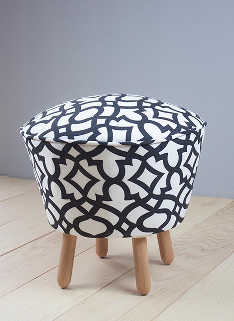 Standart unisex Beyaz - Siyah Monte Sehpa Muffin Puf Ev Dekorasyon Aksesuar Mobilya