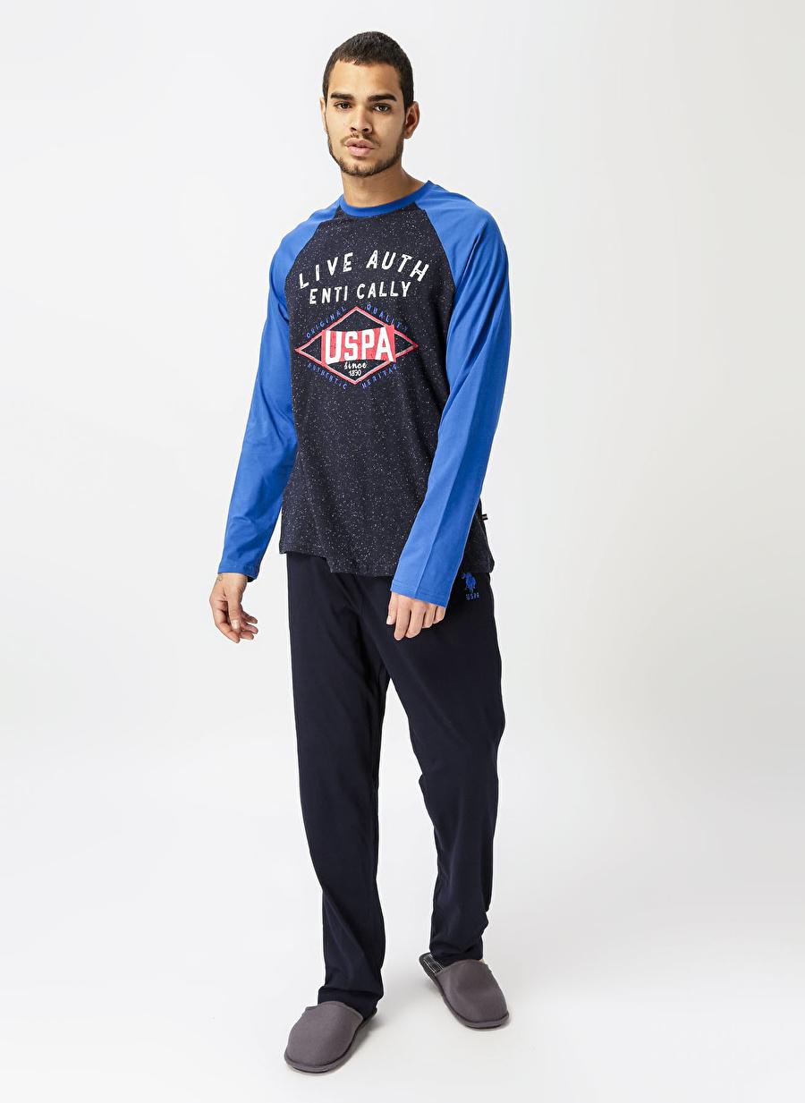 L Erkek Saks U.S. Polo Assn. Desenli Pijama Takımı Bottom Underwear Mens