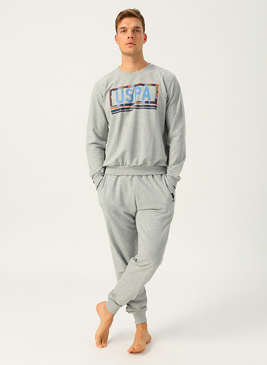L Erkek Gri Melanj U.S. Polo Assn. Baskılı Pijama Takımı Bottom Underwear Mens