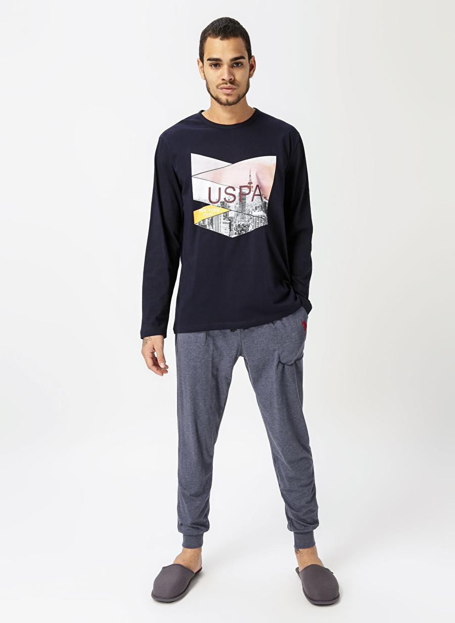 2XL Erkek Lacivert U.S. Polo Assn. Desenli Pijama Takımı Bottom Underwear Mens