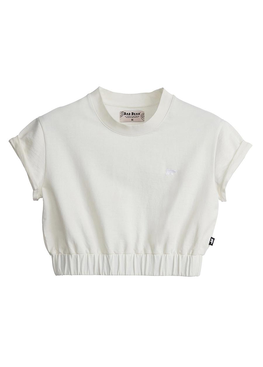 Bad Bear Kadın Koyu Beyaz Bisiklet YakaCrop-Top Sweatshirt