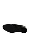 Pierre Cardin Logo Baskılı Yuvarlak Tokalı Siyah Kadın Topuklu Ayakkabı
