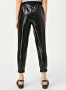 Quzu Beli Bağlamalı Cepli Siyah Pantolon