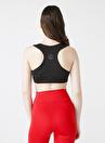 Sweaters U Yaka Dar Düz Siyah Kadın Sporcu Sütyeni