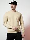 National Geographic Bisiklet Yaka Uzun Kollu Logo Baskılı Deve Tüyü Erkek Sweatshirt