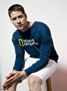 National Geographic Bisiklet Yaka Uzun Kollu Logo Baskılı Petrol Erkek Sweatshirt