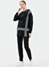 Sementa Kapüşonlu Fermuarlı Çizgi Desenli Siyah / Beyaz Kadın 3'lü Takım Eşofman Takımı