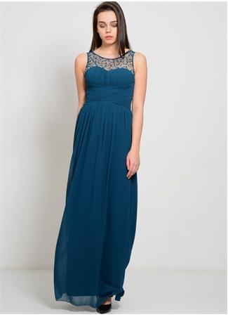 LITTLE MISTRESS Yaka Detaylı Uzun Elbise