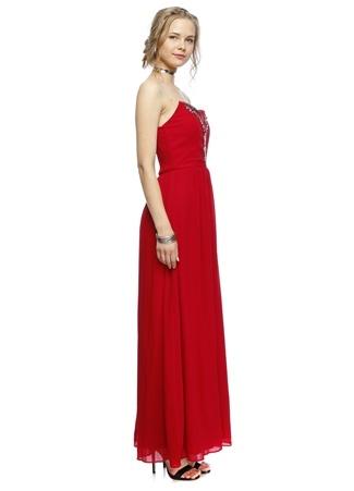 Kırmızı Straplez Detay uzun Elbise LITTLE MISTRESS
