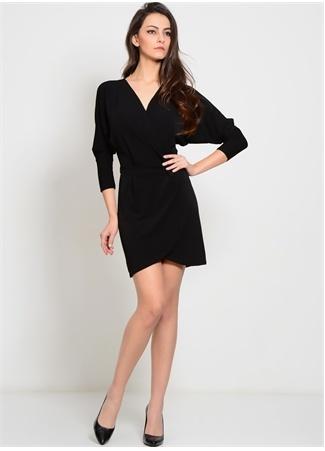 WALG V Yaka Uzun Kollu Siyah Elbise