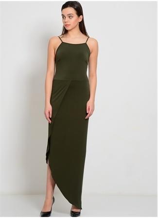 Kare Yaka Asimetrik Etek Tasarımlı Elbise WALG