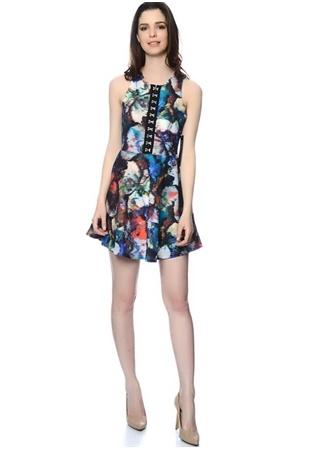 Watercolor Efektli Yazlık Mini Elbise WYLDR