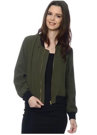Haki Rengi Fermuarlı Ceket UNIQUE 21