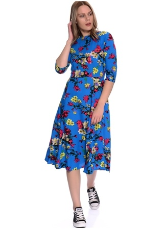 Ruby Rocks Geometrik Desenli Truvakar Kollu Midi Elbise