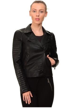 Siyah Deri Ceket Vero Moda