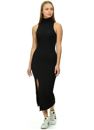 Siyah Balıkçı Yaka Yırtmaçlı Elbise Missguided