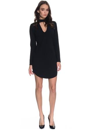 Siyah V Yaka Mini Elbise Missguided