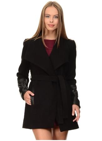 Siyah Kaşe Kuşaklı Ceket