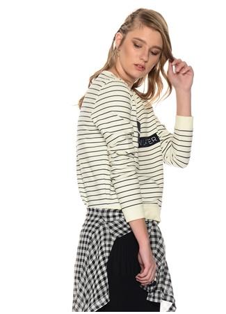 Siyah - Beyaz Çizgili ve Bakılı Sweatshirt Only