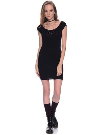 Missguided Siyah Geniş Yaka Mini Elbise