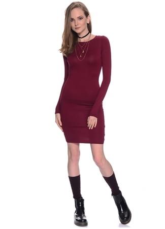 Missguided Bordo Uzun Kol Mini Elbise