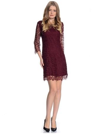 Beymen Studio Bordo Dantel İşlemeli Elbise