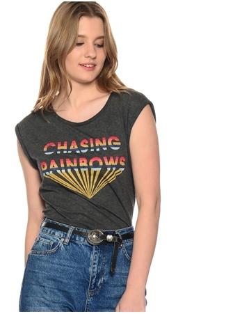 Koyu Gri Baskı Desen T-Shirt Vero Moda