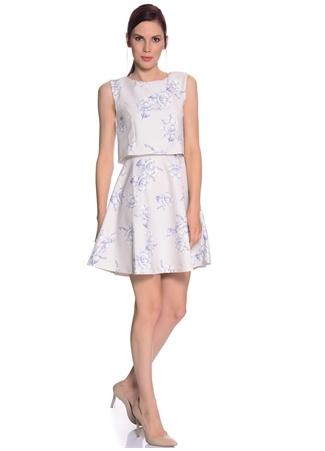 Lipsy Beyaz Kolsuz Çiçek Desenli Elbise