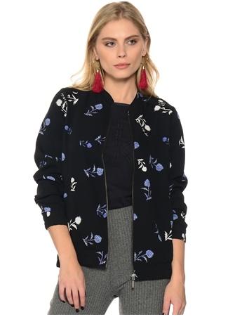 Siyah Çiçek Desenli Ceket