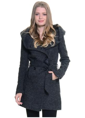 Bordo - Siyah Belden Kuşaklı Palto Only