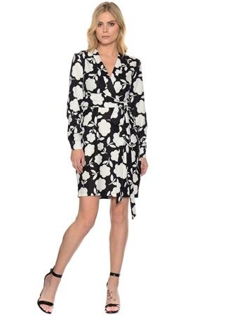 Liquorish Siyah - Beyaz Çiçekli Belden Kuşaklı Elbise