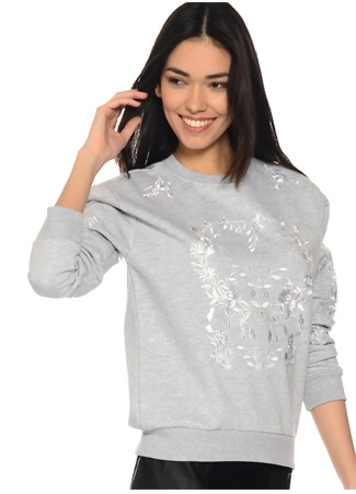 Gri Çiçek Desenli Sweatshirt Missguided