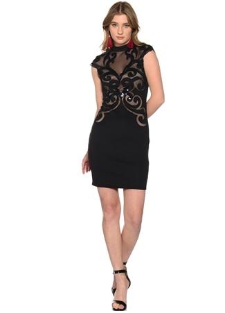 Lipsy Siyah Dantel Detaylı Elbise