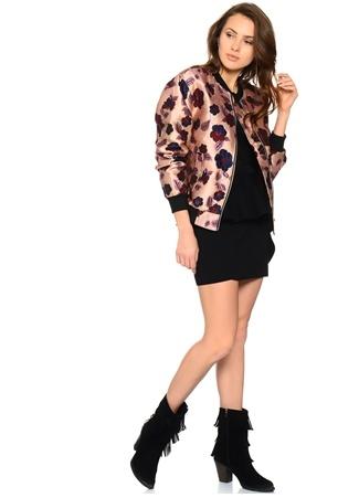 Pembe Çiçek Desenli Ceket