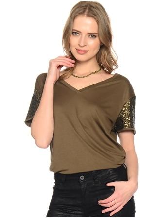 Haki Pul İşlemeli T-Shirt Network