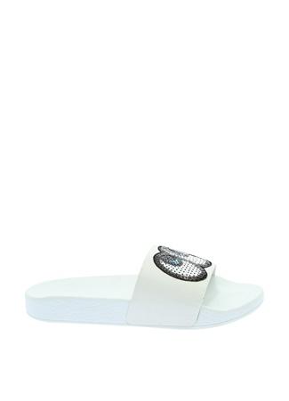 Frisbees Beyaz Suni Deri Kadın Terlik Ayakkabı