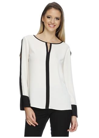 Ekol Siyah Çizgili Beyaz Bluz